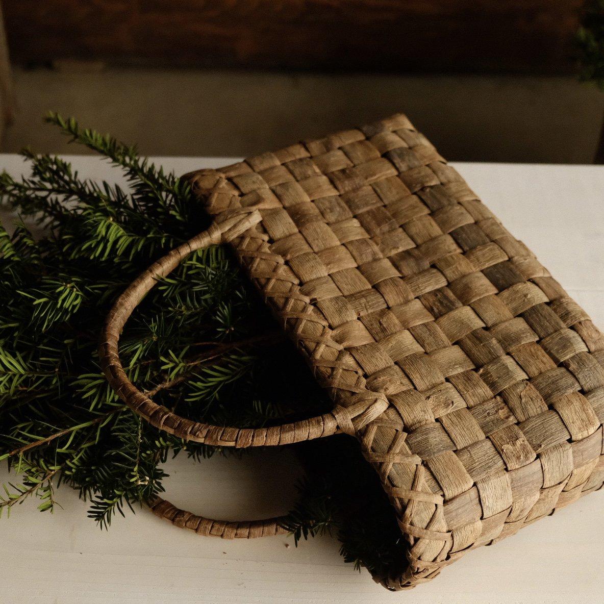 大きな手提げかご 市松編み 表
