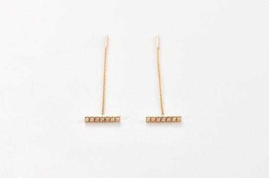 diamonds bar chained pierced earrings