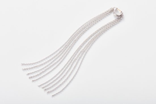 OPENABLE PIERCED EARRING WITH LONG FRINGE CHAIN