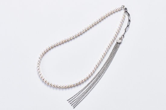 PEARL NECKLACE WITH FRINGE CHAINS