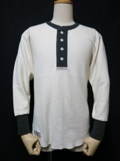 Classical Henley Neck Mesh L/S Tee LOT1199 OFF WHITE/CHARCOAL