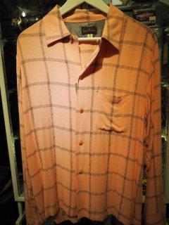 Dry Bones    Windowpane Check Nep Open Shirt PINK  DS-1948