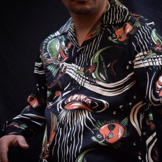 The Groovin High1950'S Vintage Style Fish Rayon L/S Shirt Black