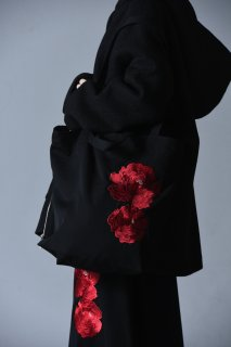 Embroidery Wool Gabardine Shoulder Bag bara