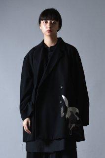 Embroidery Wool Gabardine Double Over Jacket  peace