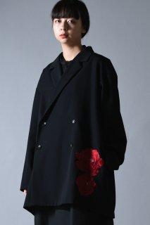 Embroidery Wool Gabardine Double Over Jacket  bara