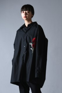 Embroidery Old Cotton LS Big Shirt black
