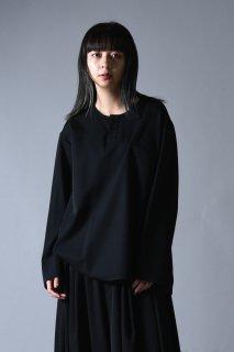 Wool Gabardine Henry Neck Pullover