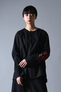 Embroidery Old Cotton Henry Neck Pullover black
