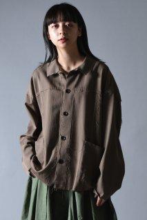 Wool Gabardine Cut Off Shirt Jacket beige