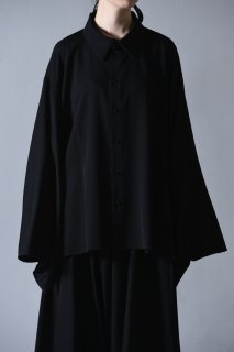 Wool Gabardine KIMONO-Sleeve Shirt