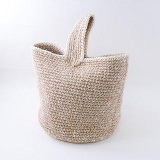 ワンハンドルのバケツバッグ(3414-白×生成)