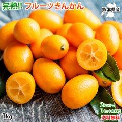 金柑 みかん 完熟フルーツきんかん 送料無料 1kg 2セット購入で1セットおまけ 熊本県産 ハウス栽培  柑橘
