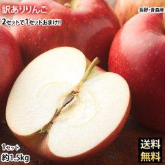 りんご 訳あり リンゴ 送料無料 約1.5kg 長野・青森県産 2セットで1セットおまけ サンふじ つがる ジョナゴールド ふじ 林檎