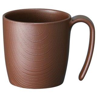 木目食器シリーズ 木目持ちやすいコップ ハンドル付 290ml ブラウン 茶色/NMGS1H_383663