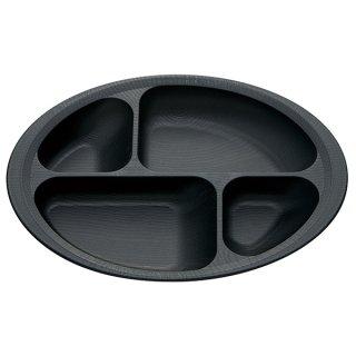 木目食器シリーズ 木目すくいやすい仕切りプレート ブラック 黒色/NLPS1_383748