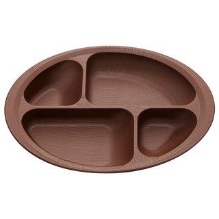 木目食器シリーズ 木目すくいやすい仕切りプレート ブラウン 茶色/NLPS1_383755