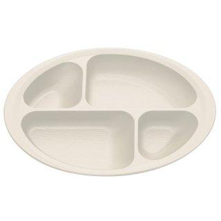 木目食器シリーズ 木目すくいやすい仕切りプレート クリーム 白色/NLPS1_391606