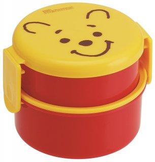丸型 弁当箱 2段 500ml ミニフォーク付 くまのプーさん フェイス|電子レンジ対応/ONWR1_416255