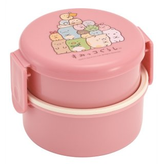 丸型 弁当箱 2段 500ml ミニフォーク付 すみっコぐらし ピンク|電子レンジ対応/ONWR1_424205