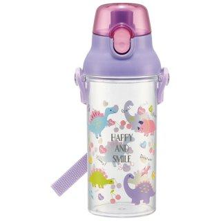 食洗機対応プラスチッククリアボトル[480ml] ハッピー&スマイル(女の子向け 恐竜柄)/PSB5TR_513374