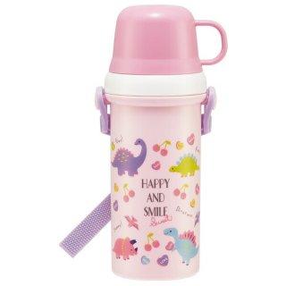 直飲みコップ付きプラスチック水筒 480ml ハッピー&スマイル(女の子向け 恐竜柄)/PSB5KD_510830