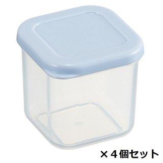 作り置き小分け容器100ml(角小4個セット) パウダーパステル ブルー/CCBC4_528200