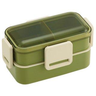 抗菌2段ふわっと弁当箱 総容量:600ml レトロフレンチ グリーン/PFLW4AG_531750