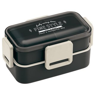 抗菌2段ふわっと弁当箱 総容量:600ml ファインスタイル ブラック/PFLW4AG_531880