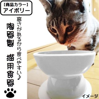 【ペット用品】陶器製 猫用食器 アイボリー(ホワイト)/CHOB4_536304