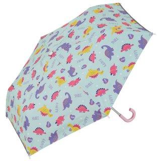 子供用 晴雨兼用折りたたみ傘(50cm) ハッピー&スマイル(女の子向け 恐竜柄)/UBOTSR1_542091