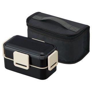 抗菌 食洗機対応2段ふわっと弁当箱 総容量850ml 保冷ランチバッグ付き ブラック/KCPFLW9AG_573422