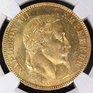 フランス France ナポレオン3世 月桂冠 100フラン金貨 1867年 NGC UNC DETAILS