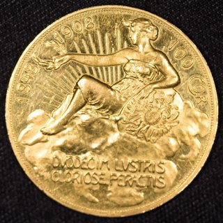 オーストリア フランツ・ヨーゼフ 雲上の女神 治世60周年記念100コロナ金貨 1908年