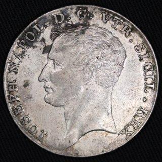 イタリア Italy ナポリ&シチリア王国 ジョゼフ・ボナパルト 120グラニ銀貨 1808年