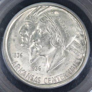 アメリカ United States of America アーカンソー州成立100周年 ハーフダラー銀貨 1936年D PCGS MS63