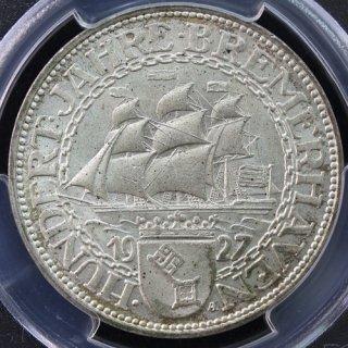 ドイツ Germany ワイマール ブレーマーハーフェン100周年記念 5マルク銀貨 1927年 PCGS MS65