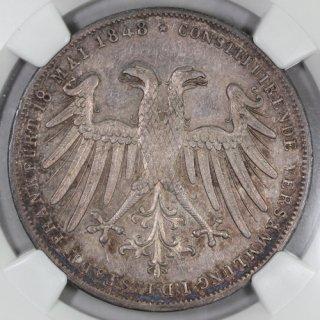 ドイツ Germany フランクフルト ヨハン大公 摂政選出 2グルデン銀貨 1848年 NGC MS63