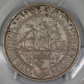 ドイツ Germany ワイマール ブレーマーハーフェン100周年記念 3マルク銀貨 1927年 PCGS MS62