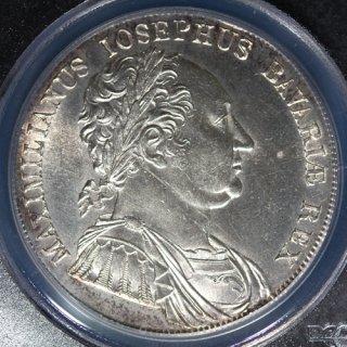 ドイツ Germany ババリア マクシミリアン1世 憲法制定 ターラー銀貨 1818年 PCGS UNC DETAILS