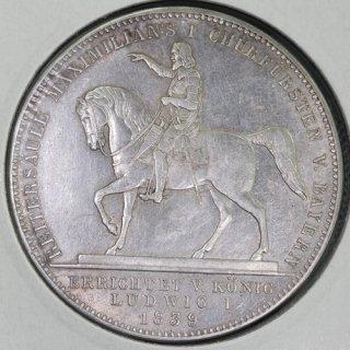 ドイツ Germany ババリア マクシミリアン1世像建立 ルートヴィヒ1世 2ターラー銀貨 1839年