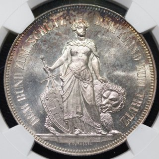 スイス Switzerland 射撃祭 ベルン 5フラン銀貨 1885年 NGC MS64