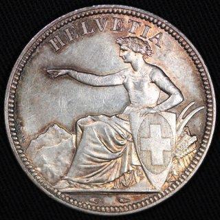 スイス Switzerland ヘルベチア 5フラン銀貨 1851年A