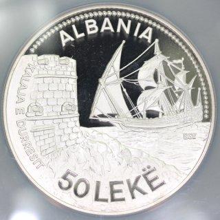 アルバニア Albania ドゥラス港 DURAZZO SEAPORT 50レク銀貨 5オンス 1987年 NGC PF69 ULTRA CAMEO