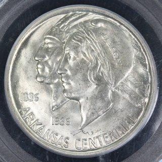 アメリカ United States of America アーカンソー州成立100周年記念 ハーフダラー銀貨 1936年 PCGS MS63