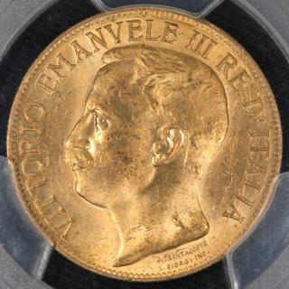 イタリア Italy ビットリオ エマヌエレ3世 王国50周年記念 50リラ金貨 1911年 PCGS MS63
