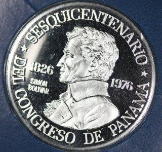 パナマ Panama シモン・ボリバル パナマ会議150周年 150バルボア プラチナ貨 プルーフ 1976年