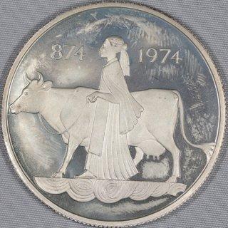 アイスランド Iceland 入植1100周年記念 500クローナ銀貨 プルーフ 1974年