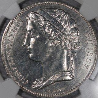 スイス Switzerland ジュネーブ 5フラン試作銀貨 ESSAI 1855年 NGC UNC DETAILS