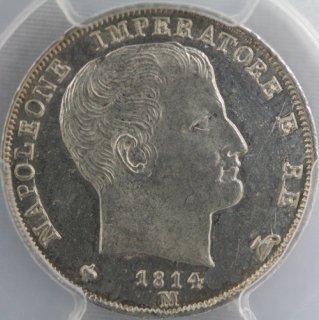 イタリア Italy イタリア王国 1リラ銀貨 1814年M PCGS MS64